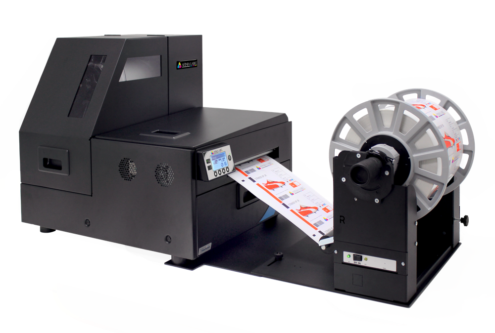 Afinia Label's L801 label printer with roll-to-roll rewinder