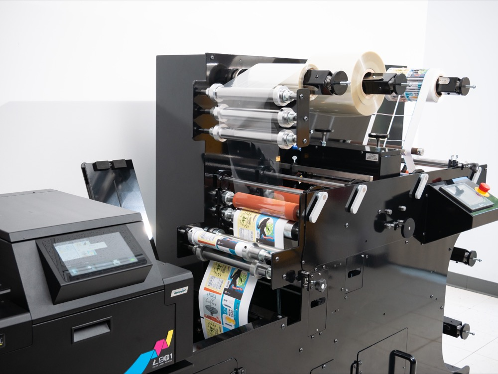 afinia label digital label press in line lamination and slitting
