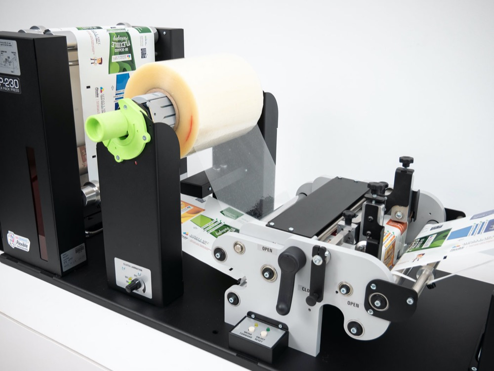 afinia label flexible packaging press lamination station