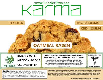 Budder Pros Oatmeal Raisin THC and CBD Edible Label